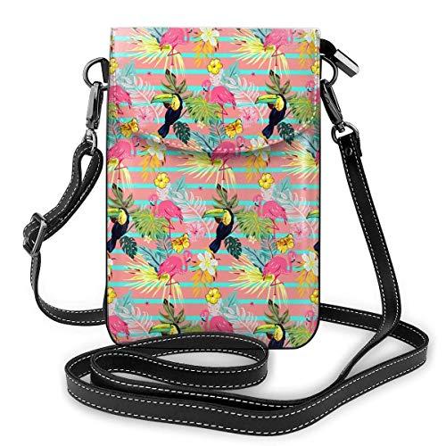 Lindo textura a rayas con flamencos y tucanes moda pequeño teléfono celular monedero multiusos bolsa de hombro cartera