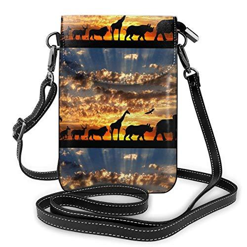 Lawenp Monedero de cuero para teléfono, bolso bandolera pequeño con jirafa puesta de sol nublada dorada, bolso pequeño para teléfono celular, bolso de hombro para mujer
