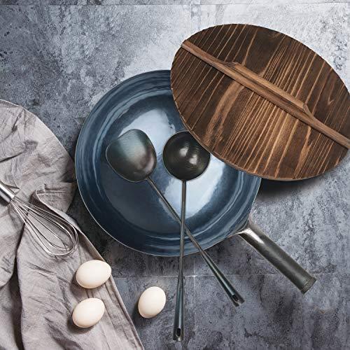 ZhenSanHuan HandHammered Wok Set Round Bottom 36CM + Wooden Lid + Iron Ladle+ Iron Spatula + Wooden Wok Shelf