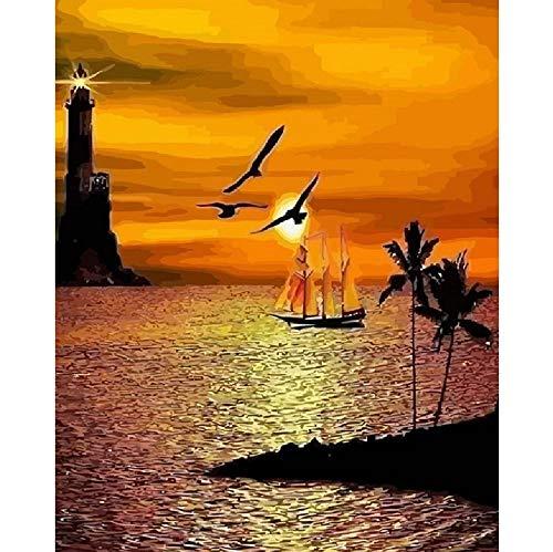 Kpoiuy Sunrise Seaside Boat Scenery DIY-GemäLde Nach Zahlen GroßE GrößEn PropylenöL-GemäLde Kunst Home Decoration 40 * 50CM Kein Bilderrahmen