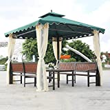 Garden Gazebo, Double Top Tent Courtyard Outdoor Awning Outdoor Leisure Furniture for Villa Courtyard Sunshine Board Pavilion Terrace with Table and Chair Set,Green
