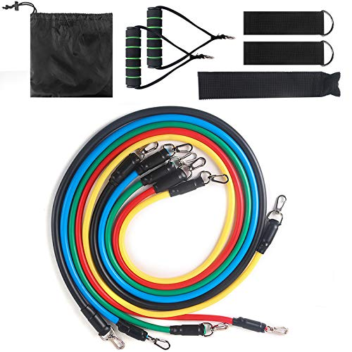 Rovive Pull Up Resistance Bands Set, Fitness Training met 5 Fitness Tubes Deur Ankerhandgrepen en Enkelband Oefening Bands Set