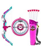 Toysery Bow and Arrow for Kids with LED Flash Lights,Archery Bow with 6 Suction Cups Arrows, Target, and Quiver - Great Outdoor Toys for 5 Year Old Boys, Safest Outdoor Kids Toys for Backyard - Pink