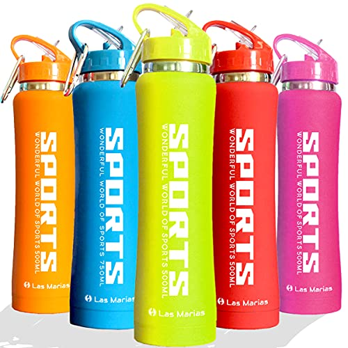 Sports Stainless Steel Water Bottle with Straw Tip - Vacuum Insulated Metal Water Bottles - Drinking Flask Leakproof with Flip Straw for Work Gym Travel Bike Running Hiking Yoga (Green, 750 ml)