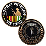VetFriends.com Vietnam Combat Veteran Challenge Coin with Soldier, Service Ribbon, and Battlefield Cross Graphics