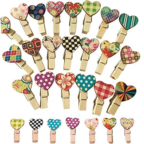 50 Stuks Kleurrijke Houten Clips Wasknijpers Mini Heart Houten Clips DIY Wooden Craft Clips Mini Houten Clips Voor Foto…