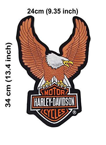 Harley-Davidson Extra Grande. Parche Bordado para Ropa o Chaquetas, Abrigos, Bolsos, Sombreros, Carteras, diseño de águila y Escudo con alas, para Coser o Planchar