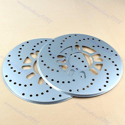 qiuxiaoaa 2Pcs Silber Aluminium Scheibenfahrzeug Dekorative Bremsscheibe Kreuzgebohrte Abdeckung Bremsverkleidung Silber