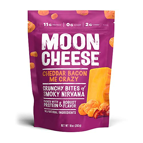 Moon Cheese Cheddar Bacon Me Crazy, 100% Bacon Cheddar Cheese Snacks, Crunchy Keto Food, Low Carb, High Protein, 10 oz (1 Pack)