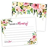 Floral Share A Memory Card Celebration of Life, Funeral Memorial Rememberance Service, Condolence Book, Retirement, Birthday, Bridal Shower, Guestbook Alternative Pack of 40-4 x 6 Cards