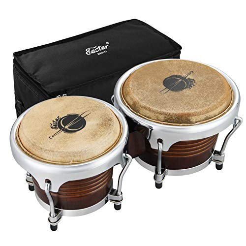 Eastar EBO-21 Bongo Drum Set 7'' and 8'' Buffalo Leather African Drum Wood Percussion Instrument with Bag and Tuning Wrench