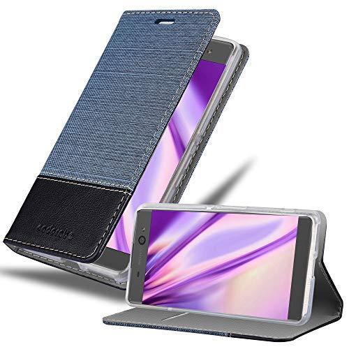 Cadorabo Hülle für Sony Xperia XA in DUNKEL BLAU SCHWARZ - Handyhülle mit Magnetverschluss, Standfunktion & Kartenfach - Hülle Cover Schutzhülle Etui Tasche Book Klapp Style