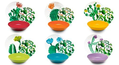 Excelsa Color Cactus Servizio Piatti 18 Pezzi, Porcellana e Ceramica, Multicolore