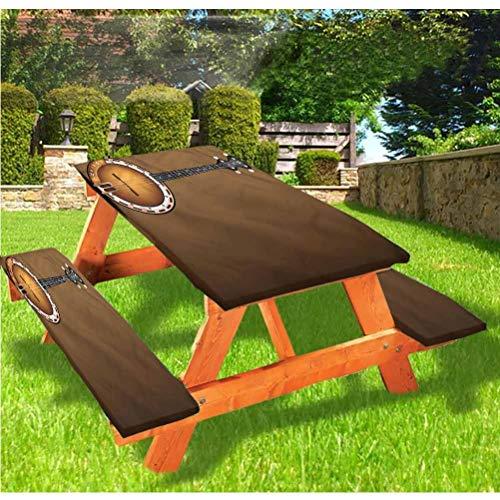 Banjo - Mantel ajustable para mesa de picnic y banco, estilo Country Western Music Folk con borde elástico, 28 x 72 pulgadas, juego de 3 piezas para camping, comedor, exterior, parque, patio
