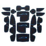 SMABEE Juego de 14 piezas para Hyundai I30 N 2017-2018, accesorios de interior de alta calidad, antideslizantes, antipolvo, alfombrillas de consola central, forro de bolsillo para puerta (azul)