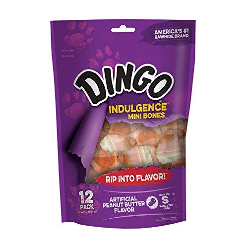 Dingo Mini Bones Kauspielzeug für Hunde, Rohleder ohne China Rohhaut, hergestellt mit echtem Huhn, 12-Count Peanut Butter