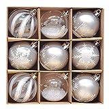 victor's workshop palline di natale christmas balls 9 pezzi 6cm decorazione dell'albero di 6 centimetri di plastica dell'albero di natale ornamento decorazione di plastica di natale argento bianco