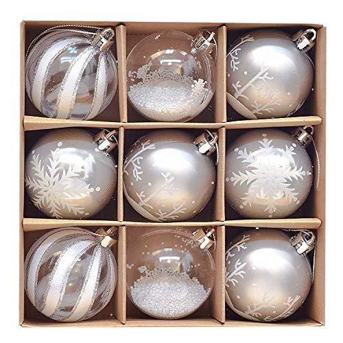 Victor's Workshop Weihnachtskugeln 9tlg. 6cm Kunststoff Christbaumkugeln Weihnachtsdeko Weihnachtsbaum Dekoration Set Plastik Weihnachten Deko mit Anhänger Gefrorener Winter Thema Silbern Weiß