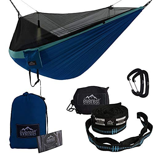 Everest Double Camping Hammock with Mosquito Net | Bug-Free Camping, Backpacking & Survival Outdoor Hammock Tent | Reversible, Integrated, Lightweight, Ripstop Nylon | Light Blue/Dark Blue/Net Black