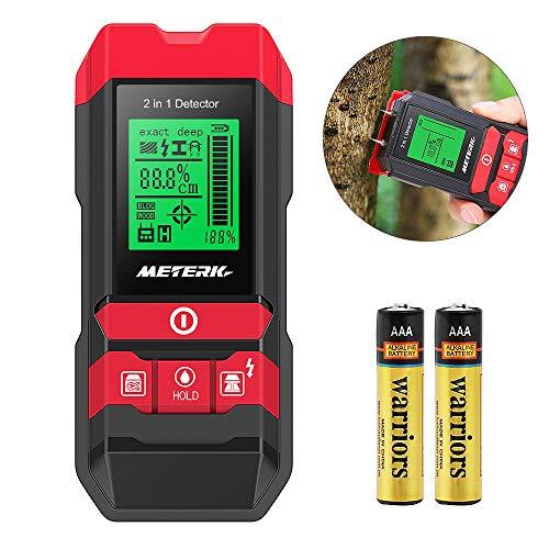 Detector de Pared, Meterk Multifuncional Electrónico Pinpoint Detector de Centro con LED/Advertencia Sonora para Madera/Metal/Cable de CA activo/Detección de Humedad