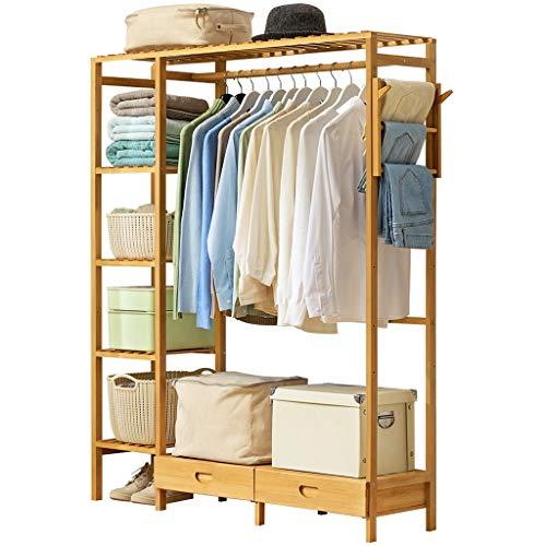 Porte-manteau vertical de mise à niveau cintre en bambou rack de stockage de vêtements (Color : A)