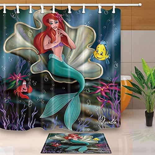 mintlmk Marine Life Decor Cartoon zeemeermin zittend in de schelpen voor kinderen 71X71in polyester stof douchegordijn pak met 15.7x23.6in flanel anti-slip vloer deurmat Bad tapijten