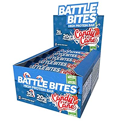 Battle Bites High Protein Bar, 12 x 62 g - Low Carb Protein Bars - Candy Cane (Mint Chocolate) from Battle Snacks