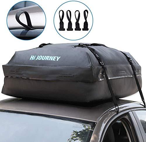 Dachbox für Auto Faltbare Dachkoffer Wasserdicht Dachtasche Dachgepäckträger-Tasche 15 Kubikfuß Aufbewahrungsbox Ideal für Reisen und Gepäcktransport Schwarz