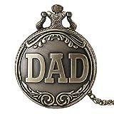ZMKW Serie de Regalos de papá Reloj de Bolsillo de Cuarzo Retro Collar Informal Colgante Estilo Antiguo Steampunk Hombres Reloj de Cadena, Collar de Cadena
