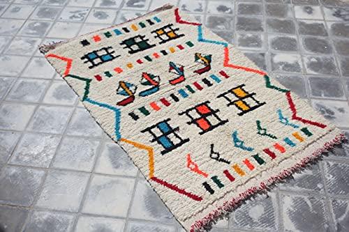 SoloBonito Azilal Berberteppich 90 x 155 cm handgewebt Teppich aus hochwertiger Schurwolle (0059)