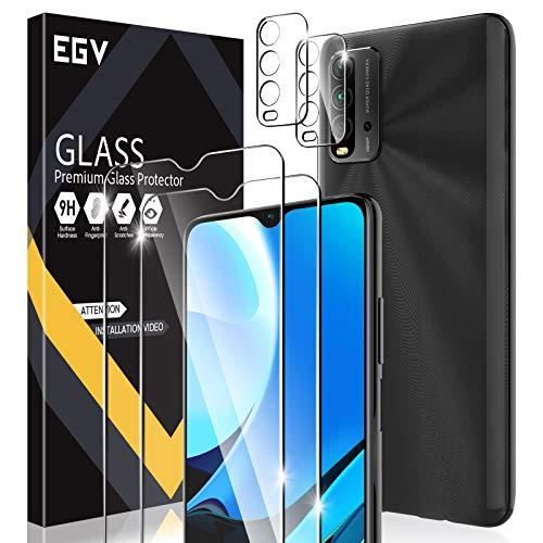 EGV Compatibile con Xiaomi Redmi 9T/Xiaomi Redmi Note 9 4G Protector de Pantalla,2 Pack Cristal Templado e 2 Pack Protector de Lente de Cámara