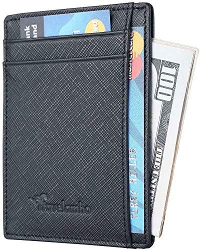 Travelambo RFID Front Pocket Wallet Minimalist Wallet Slim Wallet Genuine Leather (Crosshatch Black)