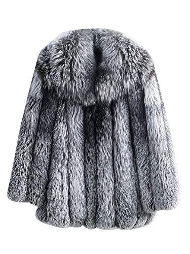 SXDQSZ DaunenjackeMan Vertical Stripes Coat Outwear Großer Turn Down Kragen 70cm LangeJacke Winter, Silberfuchs Fell, XL