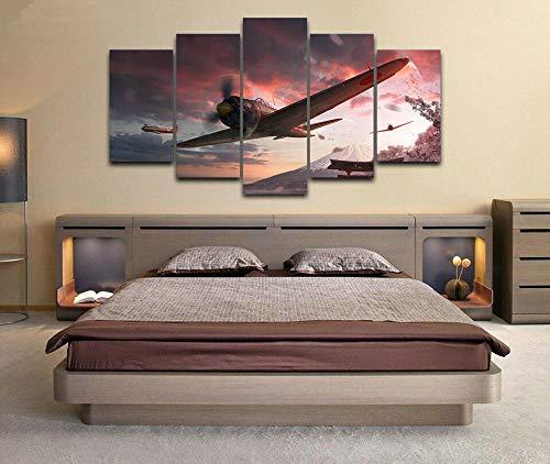 Bilder Kunstdrucke Moderne Druck Malerei Hintergrund Dekoration Modulare 5 Teiliges Wandbild Japanische Flugzeuge aus dem 2. Weltkrieg Poster Wandkunst Leinwand Creative Geschenk Kunstwerk 150X80