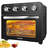 23L Air Fryer Oven with Rotisserie, AICOOK 1700W Convection Mini Oven with Grill, All in One Oil Free Fryer Oven for Chicken, French Fries and Pizza, 75 Recipes Book Included,Black