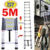 Aluminium Telescopic Ladder 16.5Ft/5M, Extension Folding Multi-Purpose Portable Ladders for Outdoor Indoor Home Loft Stair Office