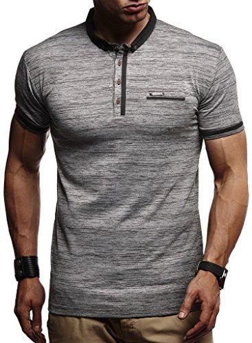 Leif Nelson Herren Jungen Männer Polo T-Shirt Kurzarmshirt Sweatshirt Sportshirt Sommer Kurzarm Longsleeve modernes Basic Shirt Freizeit Hemd Baumwolle-Anteil LN1280; Größe XL, Anthrazit
