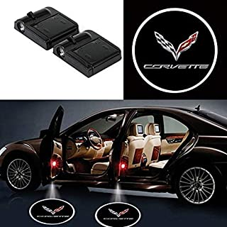 2Pcs Wireless Universal Car Projection LED Projector Door Shadow Light Welcome Light Laser Emblem Logo Lamps Kit No Drilling Required for Corvette