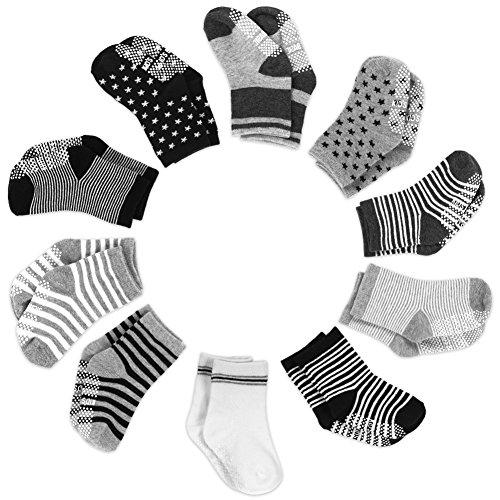 Yissvic Yissvic Baby Socken, Anti Rutsch Babysocken 10 Paar Anti Slip Stretch Socken für 0-3 Jahre Baby Mädchen und Jungen Verpackung MEHRWEG