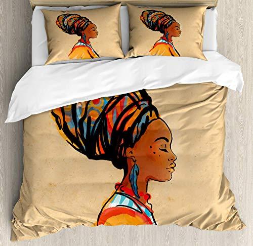 Juego de funda nórdica africana, pendiente de plumas exóticas para mujer y bufanda, obra de arte hippie zulú, juego de cama decorativo de 3 piezas con 2 fundas de almohada, caléndula caramelo