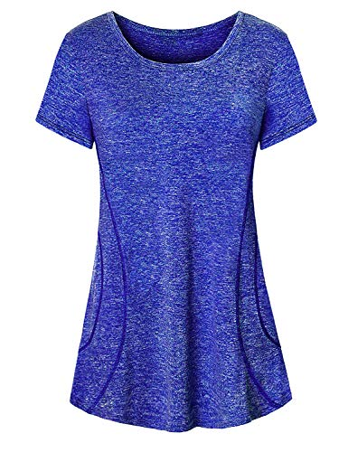 Cute Workout Tops for Women,Cucuchy Ladies Running Shirts Stylish Crew Neck Short Sleeve Summer Top Cool Relaxed Breathable Yoga Shirt Light Soft Comfortable Bike Jersey Train Clothes Royal Blue XL
