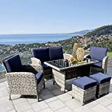 Rattan Sofa High 6-Seating Golden Brown Gray Color Imitation Leaf Soft Wicker Patio Conversation...