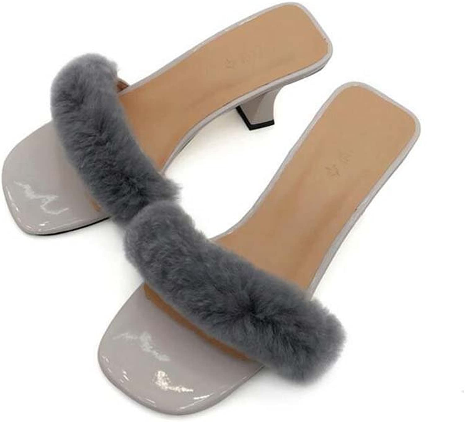 Women Pump 7.5cm Chunkly Heel Open Toe Plush Slippers Dress shoes Sweet Fashion Solid Cool Slippers OL Court shoes Eu Size 34-40