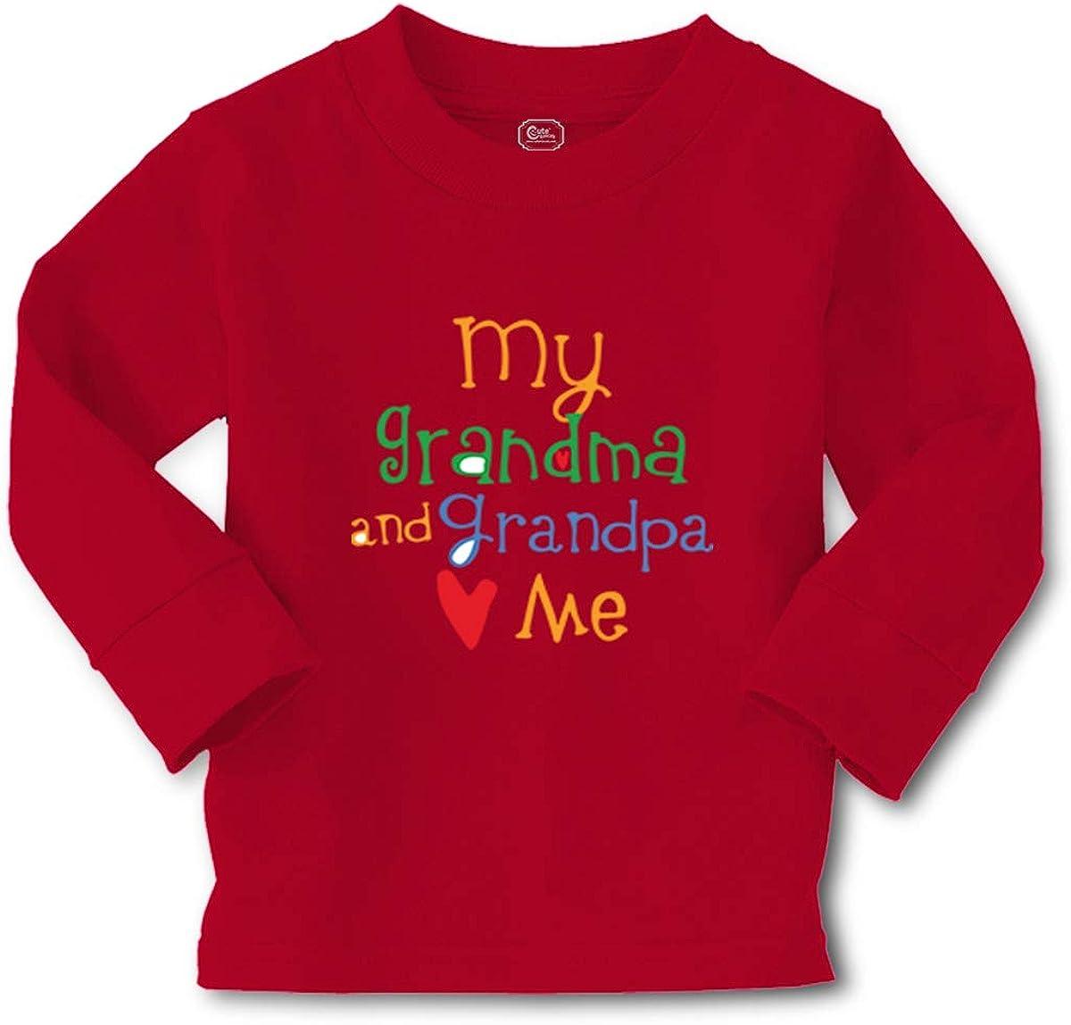 Kids Long Sleeve T Shirt My Grandpa and Grandma Loves Me Grandparents Cotton
