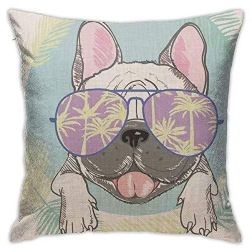 Doormats-shirt Bulldog Funny Toon French Bulldog Head con gafas de sol y hojas, almohada decorativa de 45,7 x 45,7 cm