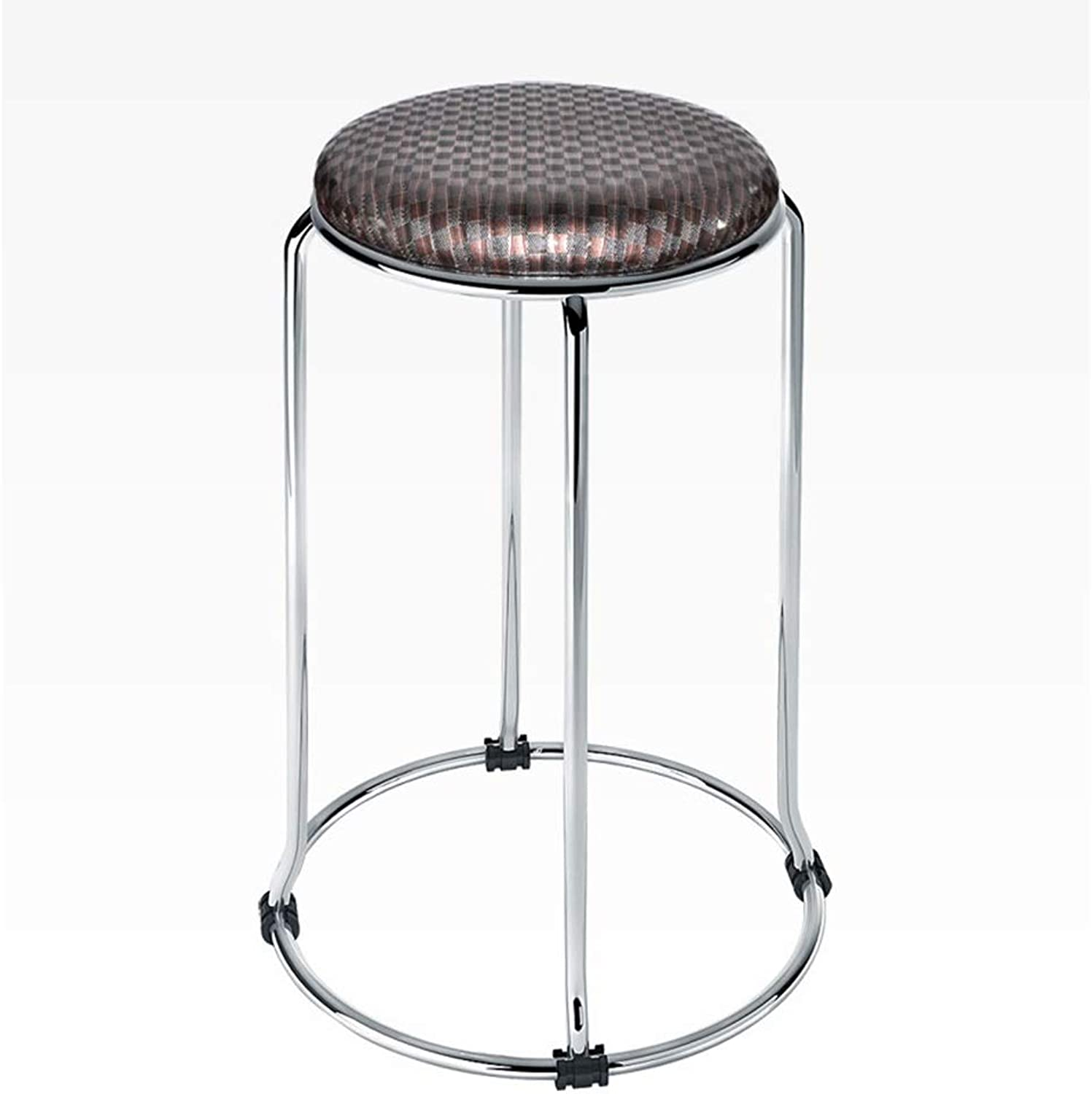 Stylish Simplicity Bar Stool Iron Art Round Retro Counter Chair Leather Seat Cafe KTV Household Sturdy Non-Slip 0525A (color   C, Size   30  57cm)