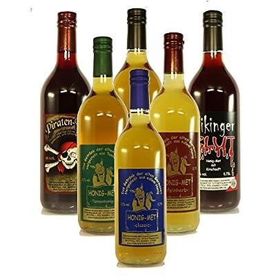 6 Fl. Probierpaket Honigwein á 0,75l Nr. 2: Wikingerblut, Met classic, Met fruchtig-lieblich, Met feinherb, Met Tannenhonig, Met Piratenblut
