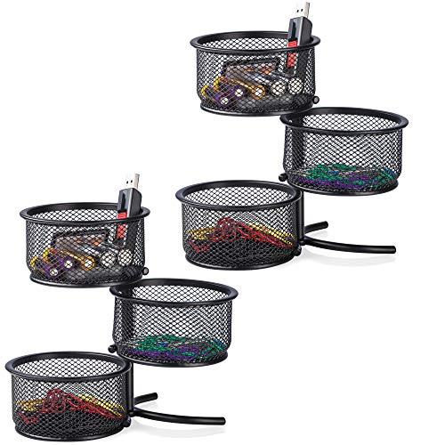 Desk Paper Clip Holder & Office Accessories Organizer - 3 Tier Mesh Swivel Tower Sorter, Black - 2 Pack