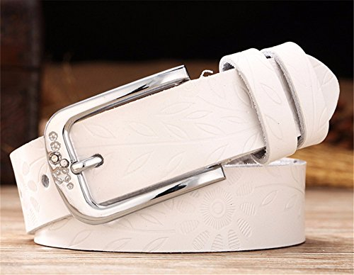 YANGFEIFEI-YD weibliche rinder ledergürtel lederhosen mit lässigen jeans gürtel erweiterte bandbreite,weiße,135cm