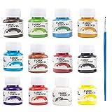 Erlliyeu Waschfest Stofffarben, 12 Farbige Wasserfest Textilfarbe | 25 ml Pro Flasche für Textil